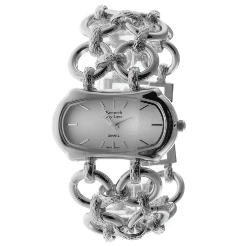 Kenneth Jay Lane Women's KJ2526-S Silver-Tone Oval Case Bracelet Watch ()