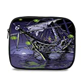 Pirate Ship Stylish iPad Backpack - Ghost Ship on Fantasy Caribbean Ocean Adventure Island Haunted Vessel Decorative for School Office - 10.6