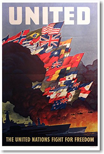 United - The United Nations Fight For Freedom - Vintage WWII Reprint Poster