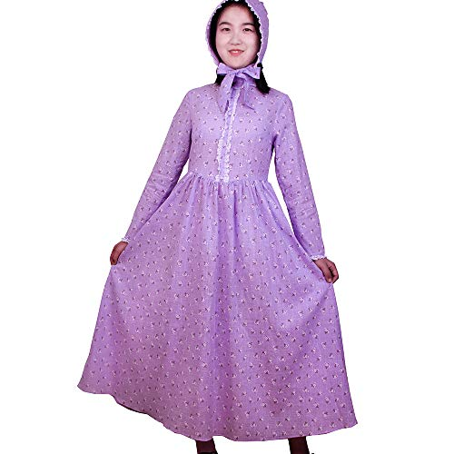 (Girls Calico Colonial Pioneer Dresses Child Frontier Prairie Pilgrims Costume with Matching Bonnets 10 Purple)