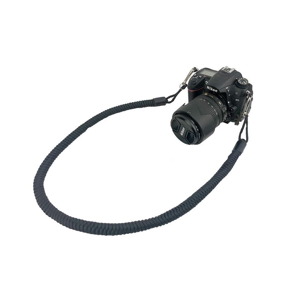 カメラネックストラップ 手編み パラコード 長さ調整不可 34インチ カメラ肩ストラップ キャノンニコンのデジタル一眼レフカメラ用 ブラック B07PQCW16C