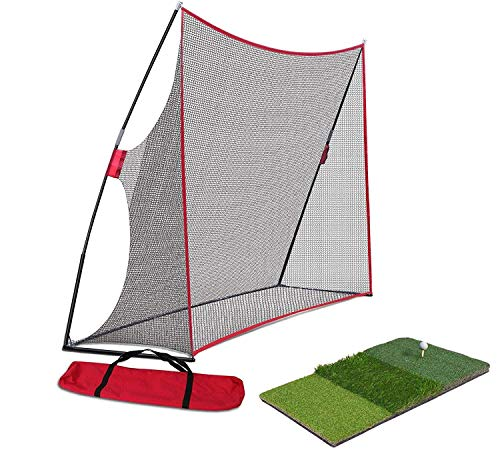 Nova Microdermabrasion Large 10x7ft Portable Golf Net Hitting Net Practice Driving Indoor Outdoor w/Tri-Turf Golf Hitting Grass Mat