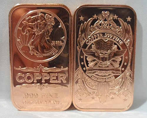 1 OZ. Walking Liberty Ingot .999 Fine Copper Bullion Art Bar (Bullion Art Bar)