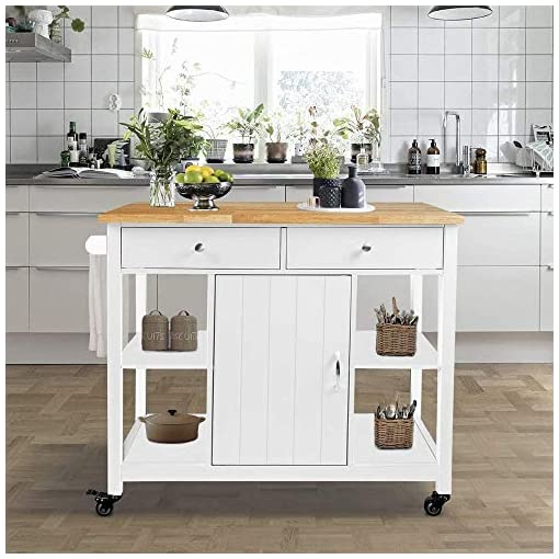 Farmhouse Kitchen ChooChoo Kitchen Cart on Wheels with Wood Top, Utility Wood Kitchen Islands with Storage and Drawers, Easy Assembly… farmhouse kitchen islands and carts