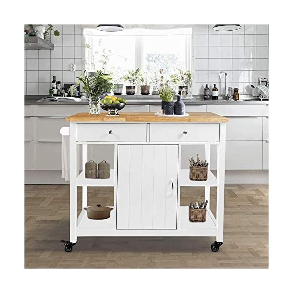 ChooChoo Kitchen Cart on Wheels with Wood Top, Utility Wood Kitchen Islands with Storage and Drawers, Easy Assembly…