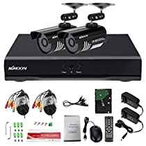 KKmoon 4CH Full AHD 1080N 1200TVL CCTV Surveillance DVR Security System P2P Cloud Onvif Network Digital Video Recorder + 1TB Hard Drive Support IR-CUT Filter Night Vision Weatherproof Plug and Play