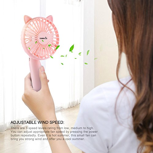 Easehold Mini Handheld Personal Fan Rechargeable Battery Powered Portable Adjustable Table USB Fans Travel Cooler 1200mAh with 3 Speed (Pink) by Easehold (Image #5)