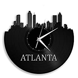 VinylShopUS Atlanta Vinyl Wall Clock Cityscape Retro Decor