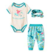 Fiream Baby Girls Clothes Infant Romper Bodysuit + Headband 3pcs Fashion Outfits Set(BA0302,0-6M)