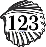 Address Sign - Seashell Shape Address Plaque Displays Up To 3 House Numbers - Choose Color: Black, White, Blue, Brushed Gold, Brushed Stainless, Yellow, Red, and Green - # CSS105S