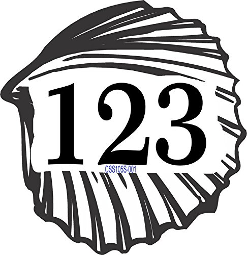 Address Sign - Seashell Shape Address Plaque Displays Up To 3 House Numbers - Choose Color: Black, White, Blue, Brushed Gold, Brushed Stainless, Yellow, Red, and Green - # CSS105S by Comfort House
