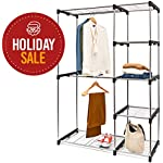 'Deluxe Double Rod Closet Organizer Freestanding Wardrobe Rack - Silver' from the web at 'https://images-na.ssl-images-amazon.com/images/I/51qwE8xUHGL._AC_SR150,150_.jpg'