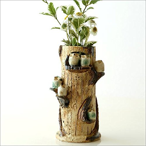 df52eca4a171e4 花瓶 おしゃれ 花器 和風 かわいい 瀬戸焼 ふくろう家族の花瓶 [mkn2770] B01G4ULROC
