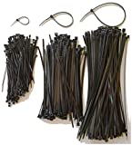 "400 Assorted Cable Ties, Manufactured using UV Resistant Virgin Nylon. 4"", 8"" and 11"" UV Black Premium Zip Ties by USA Strong Products (4'', 8'', 11 Inch)"