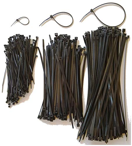 """400 Assorted Cable Ties, Manufactured using UV Resistant Virgin Nylon. 4"""", 8"""" and 11"""" UV Black Premium Zip Ties by USA Strong Products (4, 8, 11 Inch)"""
