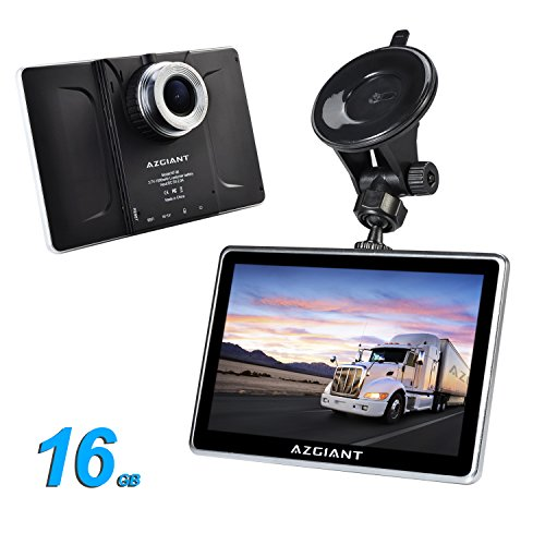 AZGIANT 7 Inch Multifunctional Car Truck Navigation GPS DVR SAT Tablet Touch Screen Android Operating System Free Maps 16 GB