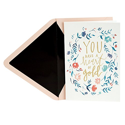 Floral Heart Card - Hallmark Signature Thank You Greeting Card (Heart of Gold Floral Wreath)