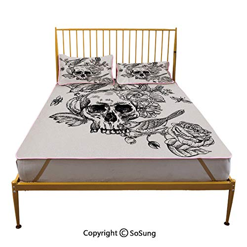 Black and White Creative Full Size Summer Cool Mat,Dead Skull Flowers Birds and Feathers Gothic Mexican Calavera Design Sleeping & Play Cool Mat,Red Black -