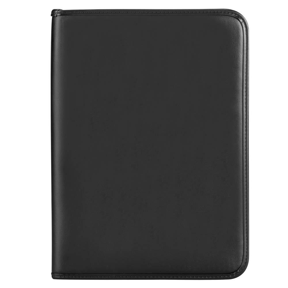 Noir Conferencier Leathario-Portfolio A4 en cuir PU porte document