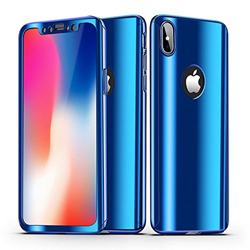 iPhone Xs Max Case + Screen Protector Alsoar iPhone Xs Max Cover 2 in 1 360 ° Full Body Protection PC case Ultra Thin Hard Plating Shockproof Non-Slip Protective Cover iPhone Xs Max (Blue)