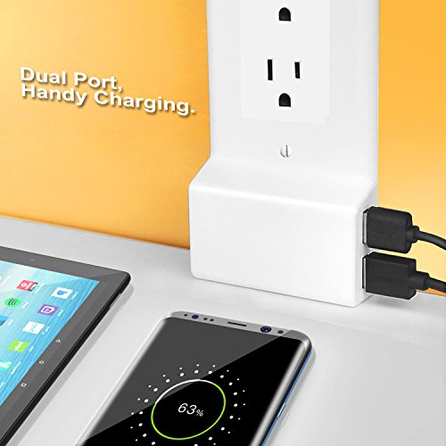 MoKo USB Outlet Wall Plate, Decor Upgrade Version Snap On Power Wall Outlet Cover Plate Replacement with 2 USB Charging Ports for Cellphones, Tablets, Fire Stick, Power Bank - White by MoKo (Image #3)