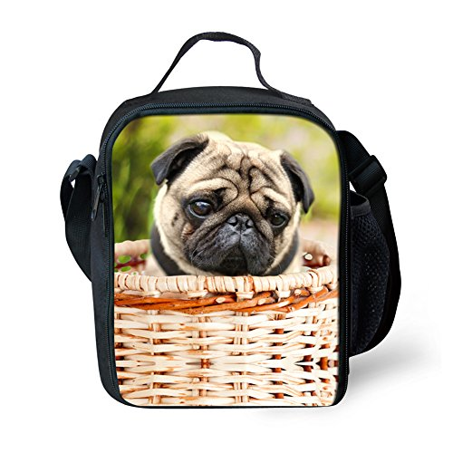 Fashion Pug Print Lunch Bags for Adults Kids School Lunch Box