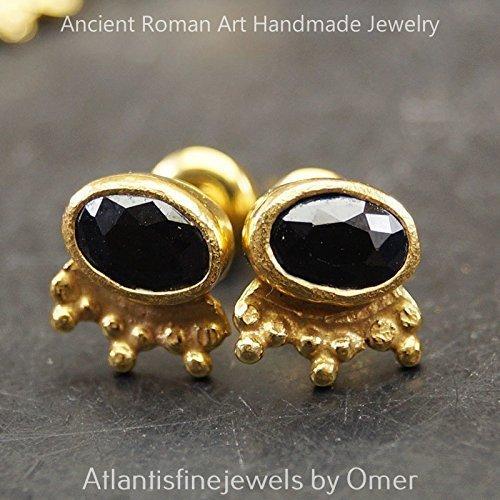 Gold Vermeil Onyx Earrings - 925 k Sterling Silver Granulated Onyx Stud Earrings Sun Collection 24k Gold Vermeil Turkish Jewelry