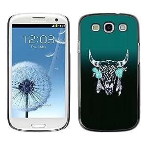 GOODTHINGS ( NO PARA S3 Mini ) Funda Imagen Diseño Carcasa Tapa Trasera Negro Cover Skin Case para Samsung Galaxy S3 I9300 - horns verdes plumas indias nativas