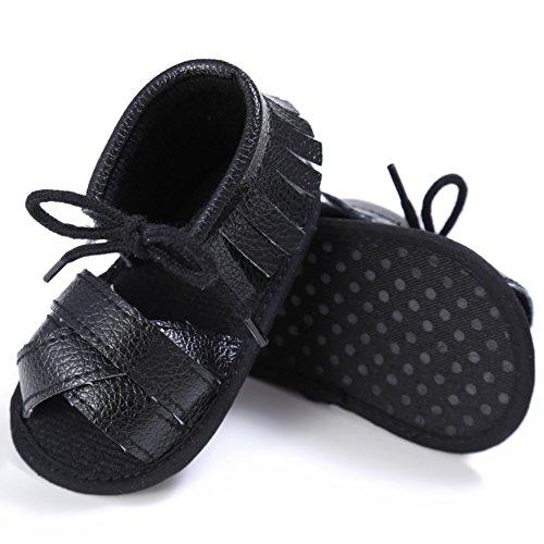 Sandalias De Bebe,BOBORA Prewalker Zapatos Primeros Pasos Para Bebe Andador De Bebe Con Borlas y Zapatos Antideslizante negro