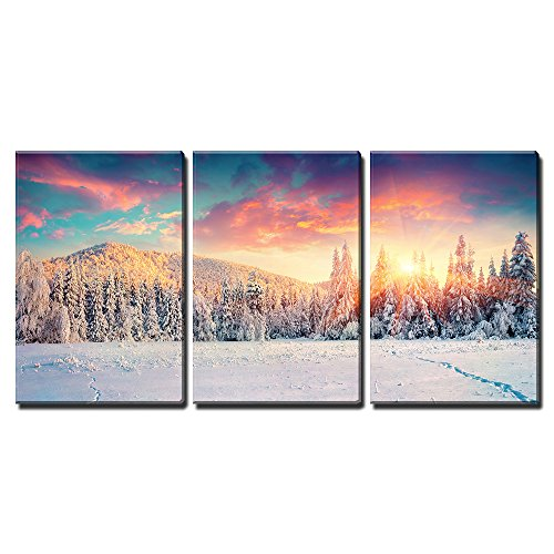 """Wall26 - 3 Piece Canvas Wall Art - Colorful Winter Panorama in the Carpathian Mountains. Fir Trees Covered Fresh Snow - Modern Home Decor Stretched and Framed Ready to Hang - 16\""""x24\""""x3 Panels"""
