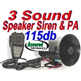 Assured Performance Police Tone 3 Sound Siren + Microphone 50w 115db Ton of Fun