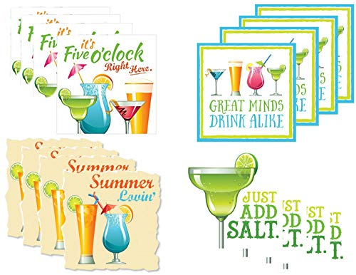 (Fun Tropical Summer Drink Cocktail/Beverage Napkins - 4 Pack, Total of 64 Napkins)