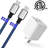 Charger Cable,USB Wall Charger Power Adapter with 2 x 6FT Micro USB Nylon Cable for Samsung Galaxy S7/S6/S5, Note, LG, Nexus, Nokia, PS4 and Other Android Devices