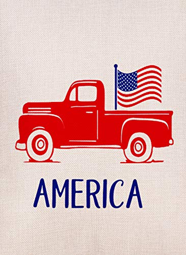 Selmad Decorative 4th of July Red Truck Small Garden Flag Patriotic Double Sided, American Burlap Welcome USA Farm Pickup House Yard Decoration, Home Seasonal Outdoor D