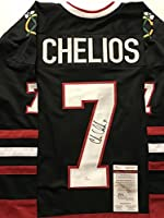 Autographed/Signed Chris Chelios Chicago Blackhawks Black Hockey Jersey JSA COA