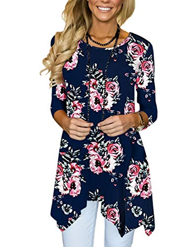 (MIROL Women's Spring Floral Print 3/4 Sleeve Irregular Hem Asymmetrical Tunic Loose Long Blouse Tops (XX-Large, Navy Flower))
