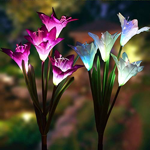 SW SAPPYWOON Outdoor Solar Flower Lights, 2 Packs Solar Garden Stake Lights with 8 Lily Flowers, Multi-Color Changing LED Solar Outdoor Garden Lights for Garden, Patio, Backyard (Purple and White)]()