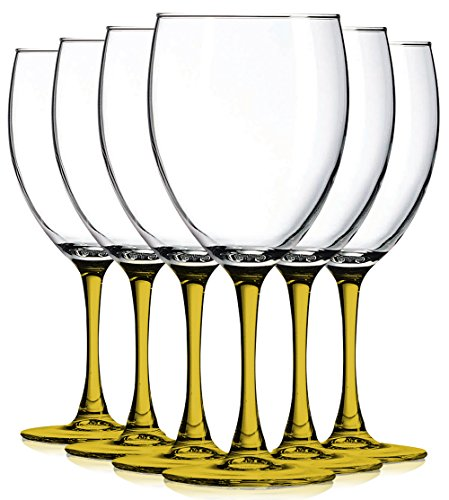 Amber Nuance Wine Glassware with Beautiful Colored Stem Accent - 10 oz. set of 6- Additional Vibrant Colors Available by TableTop King ()