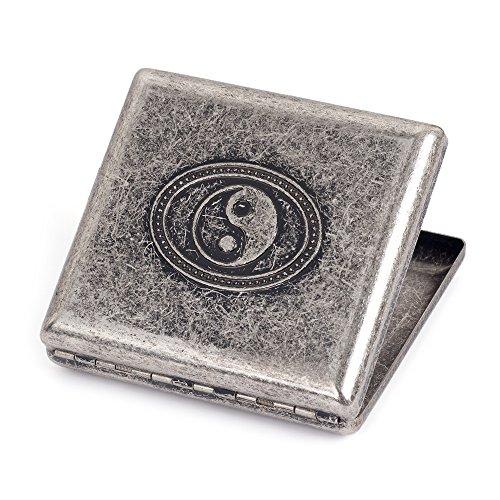 Silver Grey Brass Metal Cigarette Case Holder Holds 20 Cigarettes (Silver Tai Chi) ()