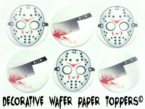 [24 HALLOWEEN Bloody Hatchet Knife & Hockey Mask Decorative Wafer Paper Toppers © CUPCAKE TOPPERS SMALL 1.5