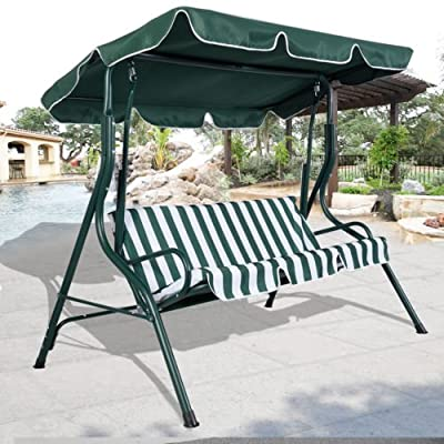 NEW Green Outdoor Patio Swing Canopy 3 Person Awning Yard Furniture Hammock Steel