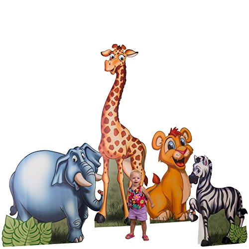 - 3 ft. to 7 ft. 2 in. Jungle Safari Animals Standee Set Standup Photo Booth Prop Background Backdrop Party Decoration Decor Scene Setter Cardboard Cutout