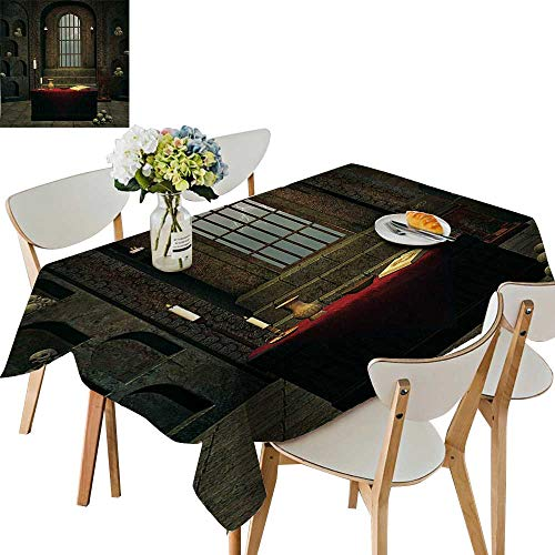 (UHOO2018 Decorative Tablecloth Fantasy Theme Spell Casting Warlock Witch Skulls on Shelves Candles Spooky Scenery Square/Rectangle Kitchen Tablecloth Picnic Cloth,52 x 108inch)