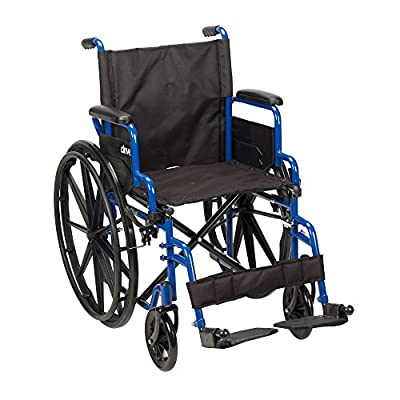 """Drive Medical Blue Streak Wheelchair with Flip Back Detachable Desk Arms and Swing-away Foot Rest, Blue, 18"""""""