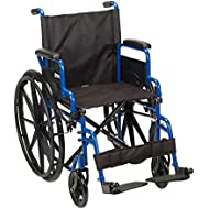 """Drive Medical Blue Streak Wheelchair with Flip Back Desk Arms, Swing Away Footrests, 18"""" Seat"""