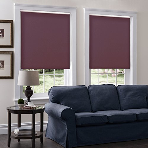 Cordless Roller Shades, Any Size 19-96 Wide, 29W x 75H, Serena Light Filtering/Room Darkening Red Velvet