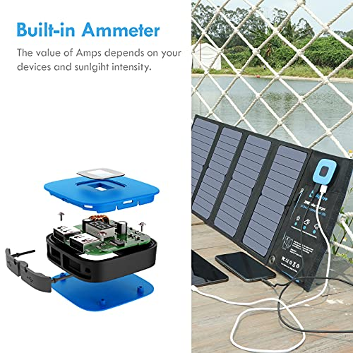 BigBlue 28W Solar Charger with Digital Ammeter, Foldable Portable Solar Panels with Dual USB(5V/4A Overall), IPX4 Waterproof, Compatible with iPhone 11/Xs/X/8/7, iPad, Samsung Galaxy, LG, Nexus etc