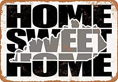 Wall-Color 9 x 12 Metal Sign - Home Sweet Home Kentucky Gray - Vintage Look