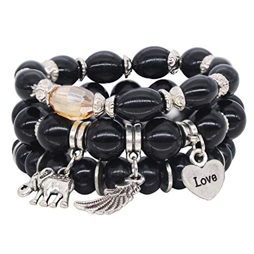 VONRU Boho Bead Stackable Bracelets for Women - Vintage Multi Layer Colorful Beads Bracelets Bohemian Anklets Charm Birthstone Yoga Chain Stretch Beach Bangle (Black Elephant Bracelet)