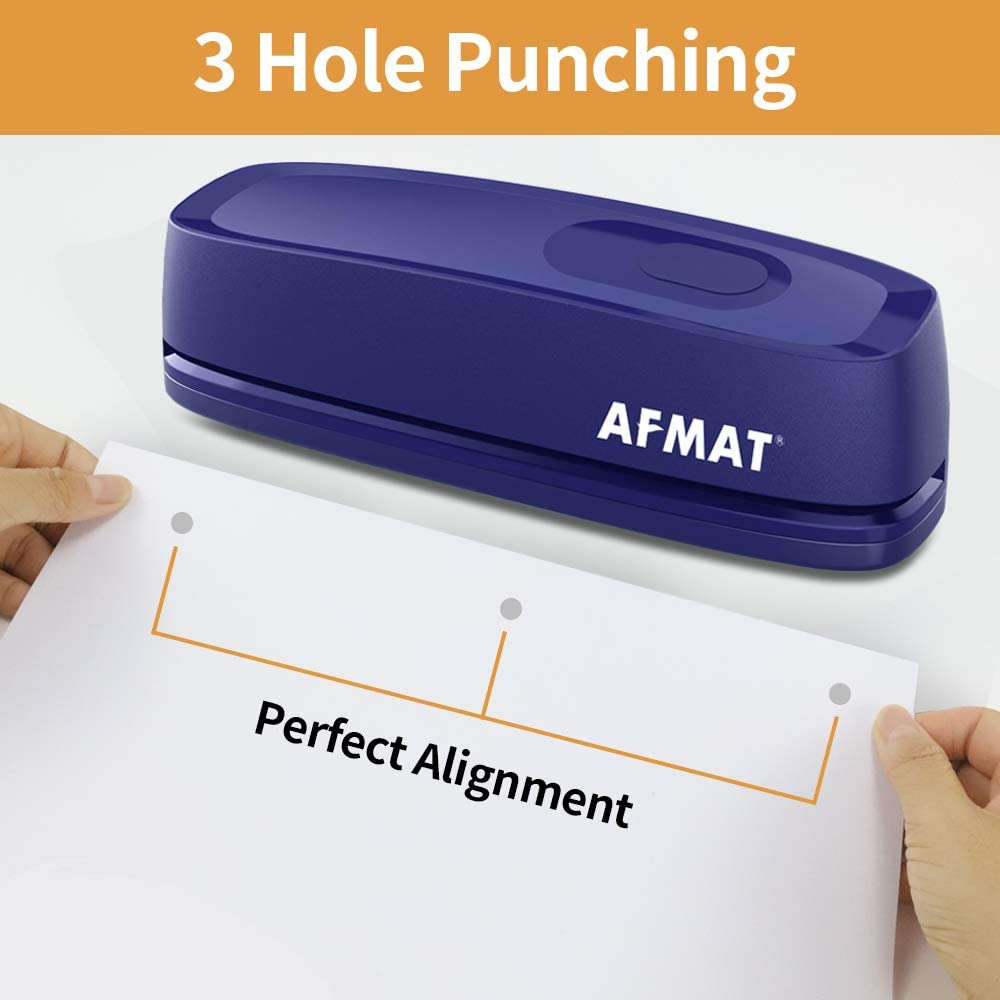 AC or Battery Operated Paper Puncher Electric Hole Punch AFMAT 3 Hole Punch Heavy Duty 20-Sheet Punch Capacity Blue Effortless Punching Long Lasting Paper Punch for Office School Studio